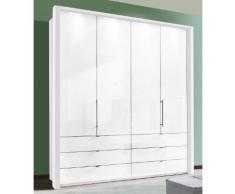 Panorama-Falttürenschrank mit Glasfront in 3 Breiten weiß, Breite 200cm, »Loft«, mit Schubkästen, WIEMANN