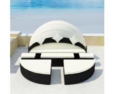 vidaXL Gartenbett mit Dach Schwarz 186×226 cm Poly Rattan