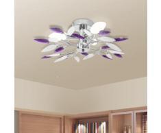vidaXL Deckenleuchte Weiße & Lila Acrylglas-Blätter 3 × E14-Lampen