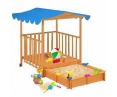 vidaXL Kinderspielhaus mit Sandkasten Holz Blau UV50