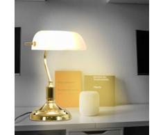 vidaXL Banker-Schreibtischlampe 40 W Weiß und Golden