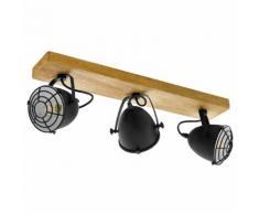 EGLO Spotleuchte Gatebeck 3 Lampen Stahl und Holz Schwarz
