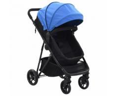 vidaXL 2-in-1 Buggy/Kinderwagen Blau und Schwarz Stahl