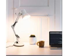 vidaXL Schreibtischleuchte mit verstellbarem Arm Weiß E27