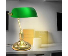 vidaXL Banker-Schreibtischlampe 40 W Grün und Golden