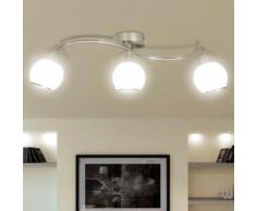 vidaXL Deckenleuchte mit Glasschirme auf geschwungener Schiene 3 × E14 Lampen
