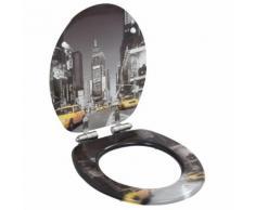 vidaXL Toilettensitz mit Soft-Close-Deckel MDF New York Design