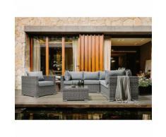Beliani Lounge Set Rattan hellbraun 6-Sitzer Auflagen hellgrau CONTARE