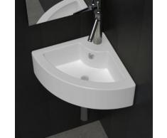 VidaXL Keramik Eck Waschtisch Waschbecken Mit Überlauf Weiß
