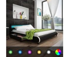 vidaXL Bett mit 2 Schubladen Kopfende LED 180 cm Kunstleder Schwarz