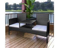 vidaXL Gartenbank 2-Sitzer mit Tisch Poly Rattan Schwarz