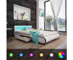 vidaXL Kunstlederbett mit 2 Schubladen mit LED-Leiste am Kopfteil 140 cm Weiß