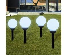 vidaXL Außenlampe Solarlampe LED Gartenkugel Kugellampe 4tlg.