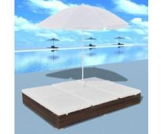 vidaXL Outdoor-Loungebett mit Sonnenschirm Poly Rattan Braun