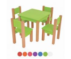 XXL Discount Kindertisch mit 4 stühle, 5 tlg. Set: Sitzgruppe für Kinder Grün
