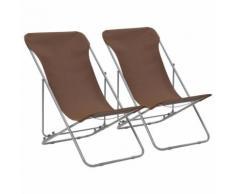 vidaXL Klappbare Strandstühle 2 Stk. Stahl und Oxford-Gewebe Braun
