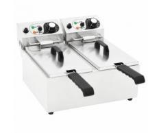 vidaXL Doppelte Elektro-Fritteuse Edelstahl 12 L 4000 W