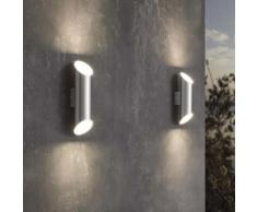 EGLO Außenwandleuchte LED Agolada 2×3,7 W Silbern
