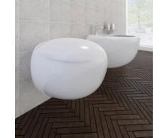 vidaXL Wand-Hänge WC Toilette +Hänge Bidet+ SoftClose Weiß