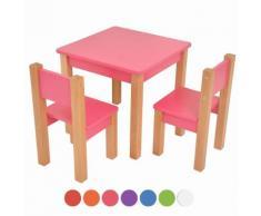 XXL Discount Kindertisch mit 2 stühle, 3 tlg. Set: Sitzgruppe für Kinder Rosa