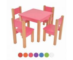 XXL Discount Kindertisch mit 4 stühle, 5 tlg. Set: Sitzgruppe für Kinder Rosa