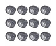 vidaXL 12x LED Spotlight Lampe Leuchte Strahler Solar Steine