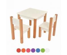 XXL Discount Kindertisch mit 2 stühle, 3 tlg. Set: Sitzgruppe für Kinder Weiß