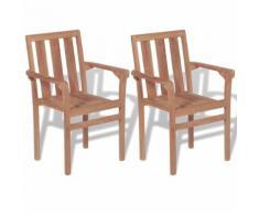 vidaXL Stapelbare Gartenstühle 2 Stk. Massivholz Teak