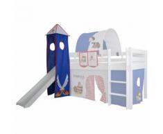 XXL Discount Turm für Hochbett Spielturm mit Turmgestell Piraten Blau/Weiß