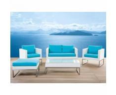 Beliani Lounge Set Rattan weiss 5-Sitzer Auflagen türkis CREMA
