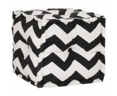 vidaXL Sitzwürfel mit Muster Handgefertigt 40 x 40 cm Schwarz/Weiß