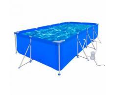 vidaXL Schwimmbad Pool Rechteckig 394 x 207 x 80 cm + Pumpe