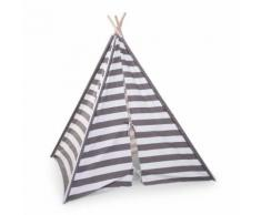 CHILDWOOD Tipi Kinderzelt 135x150x130 cm Grau und Weiß TIPSTR