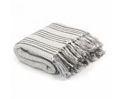 vidaXL Überwurf Baumwolle Streifen 220 x 250 cm Grau und Weiss