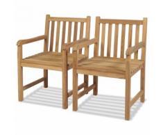 vidaXL Gartenstühle 2 Stk. Massivholz Teak