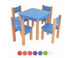 XXL Discount Kindertisch mit 4 stühle, 5 tlg. Set: Sitzgruppe für Kinder Blau