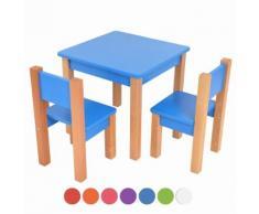 XXL Discount Kindertisch mit 2 stühle, 3 tlg. Set: Sitzgruppe für Kinder Blau
