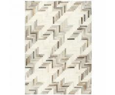 vidaXL Teppich Echtes Kuhfell Patchwork 80×150cm Grau/Weiß