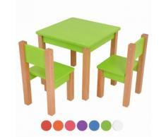 XXL Discount Kindertisch mit 2 stühle, 3 tlg. Set: Sitzgruppe für Kinder Grün