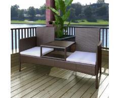 vidaXL Gartenbank 2-Sitzer mit Tisch Poly Rattan Braun