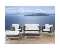 Beliani Lounge Set Rattan braun 5-Sitzer Auflagen weiss CREMA