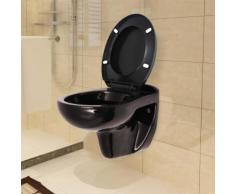 vidaXL Wand-WC mit Absenkautomatik-Sitz Keramik Schwarz