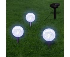 vidaXL Solarkugel 3 LED Gartenleuchten mit Erdspießen & Solarmodul