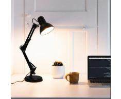 vidaXL Schreibtischlampe mit verstellbarem Arm Schwarz E27