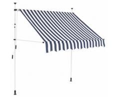 vidaXL Einziehbare Markise Handbetrieben 150 cm Blau/Weiß Gestreift