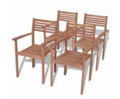 vidaXL Stapelbare Gartenstühle 4 Stk. Massivholz Teak