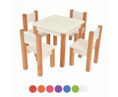 XXL Discount Kindertisch mit 4 stühle, 5 tlg. Set: Sitzgruppe für Kinder Weiß