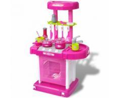 vidaXL Kinderküche Spielküche mit Licht- und Soundeffekten Rosa