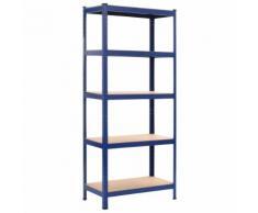 vidaXL Lagerregal Blau 80 x 40 x 180 cm Stahl und MDF