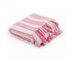 vidaXL Überwurf Baumwolle Streifen 160 x 210 cm Rosa und Weiss